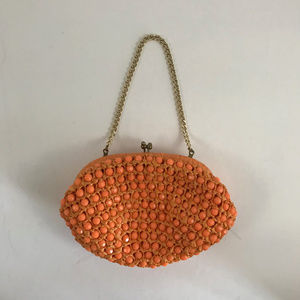VINTAGE Orange Beaded Crochet Mini Bag/Clutch